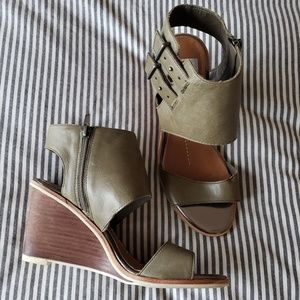 DOLCE VITA Green Zip Ankle Wrap Wedge Heels
